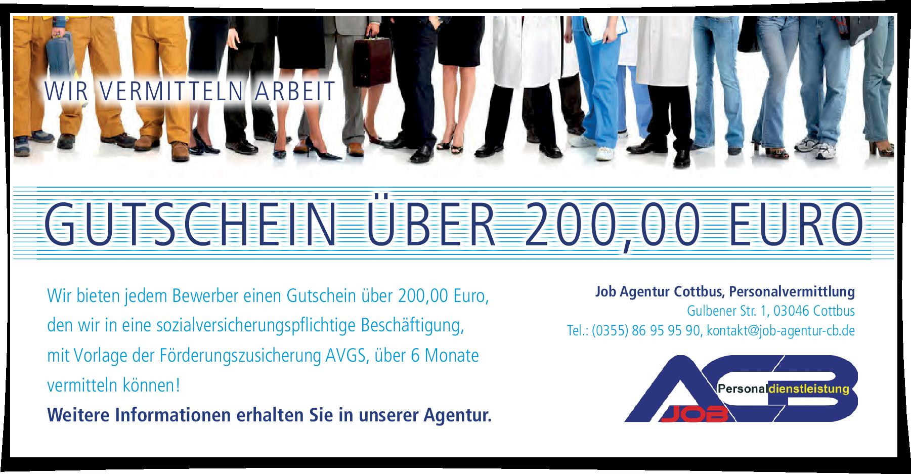 Wir bieten jedem Bewerber einen Gutschein über 200,00 Euro, den wir in eine sozialversicherungspflichtige Beschäftigung, mit Vorlage der Förderungszusicherung AVGS, über 6 Monate vermitteln können!