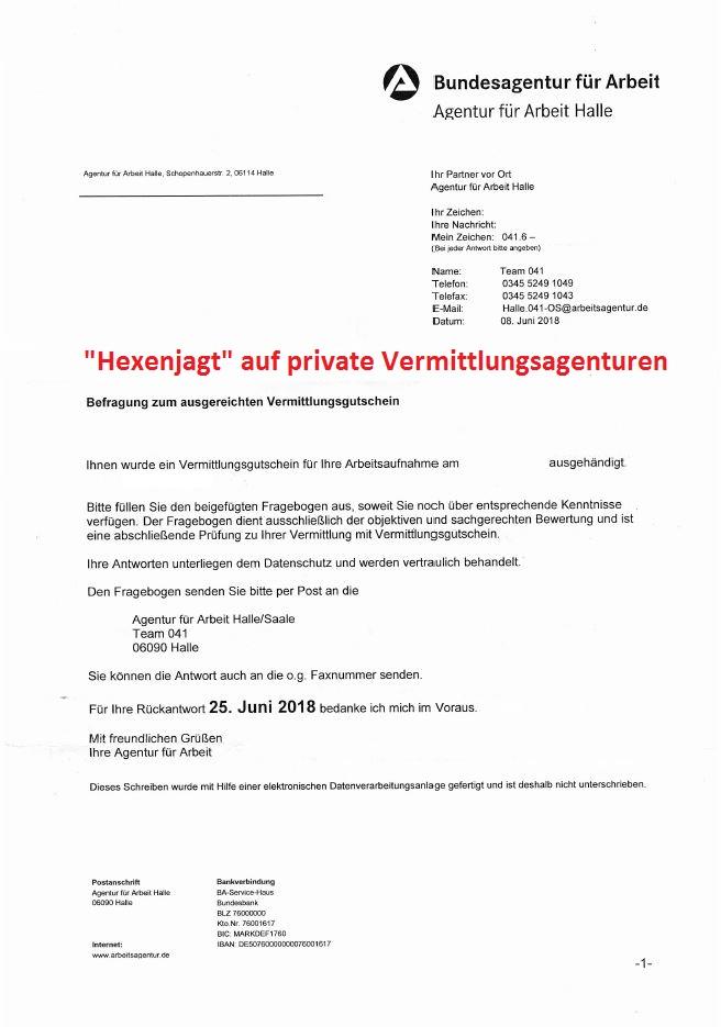 Hexenjagt der Bundesagentur für Arbeit auf private Vermittlungsagenturen, Job Agentur Cottbus, Ralf Peter Stimmer